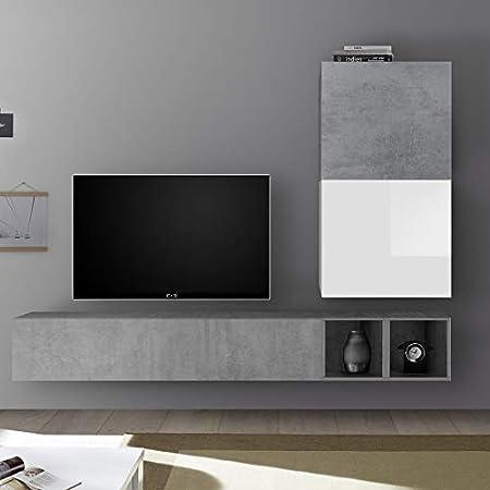 Nouvomeuble Meuble Tv Suspendu Blanc Laque Et Gris Beton Soleto Amazon Fr Cuisine Maison