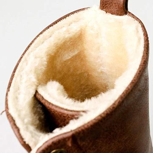 Pelle Pelle Pelle Stivaletti E Tacco da Casuali Lacci con Brown Stivali Alto Stivaletti Donna in Inverno con Autunno Medio Tacco 1tpn1qrw80