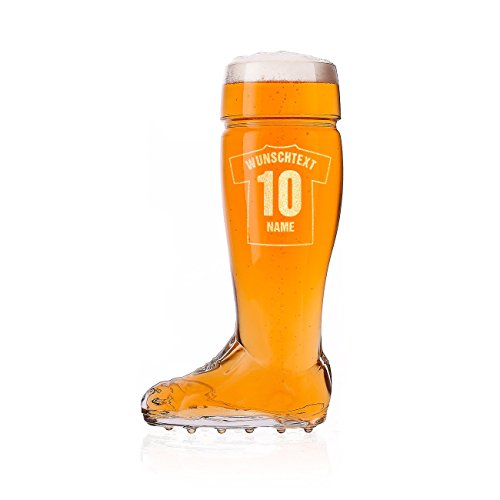 Privatglas Bierstiefel Bierglas 0,5l mit Gravur Ihres persönlichen Trikots für Fußballer