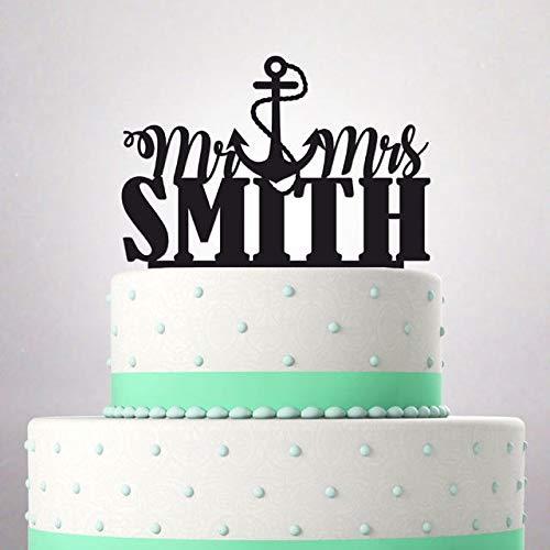Decoración para tarta de boda con texto en inglés «Mr and Mrs ...