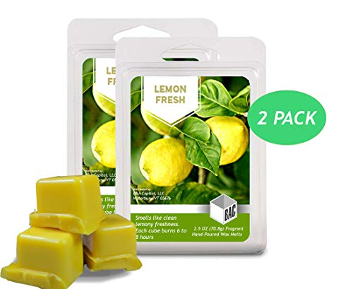 BAC Home Lemon Fresh Soy Blend Scented Wax Melts Wax Cubes, 2.5 oz, [6 Cubes] (2)