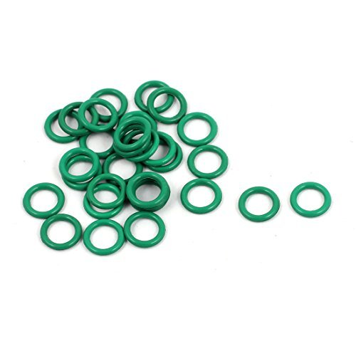DealMux 30Pcs 6 mm x 1 mm FKM juntas tó ricas de goma resistente al calor de sellado del anillo de pasahilos verde DLM-B01N643Q93