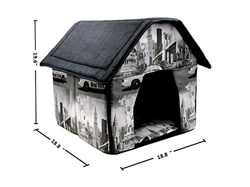 Pet House London Print Bed For Dog Cat Puppy 19.6H X18.8W X18.8L