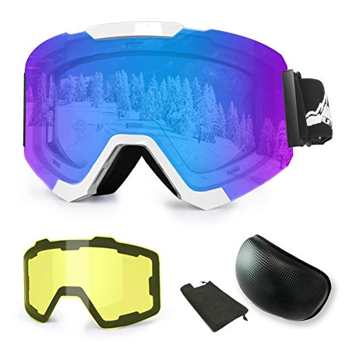 Extra Mile 【2019 New Ski Goggles, Anti-Fog UV Protection Winter Snow Sports Snowboard Goggles with Interchangeable Spherical Dual Lens for Men Women & Youth Snowmobile Skiing Skating