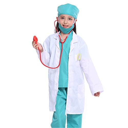 White Kid Lab Coat for Scientist or Doctors Role Play Costume Set (One Size, Coat with Stethoscope Name Tag) for $<!--$9.69-->