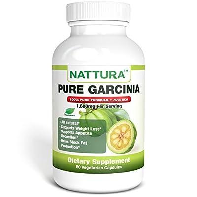 PURE GARCINIA - 100% Natural Garcinia Cambogia Appetite Suppressant | Weight Loss Supplement | Helps Block Fat Production | 1,600mg Per Serving | 70% HCA - 60 Caps