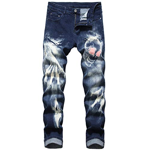 (iHPH7 Jeans Ripped Slim Straight Fit Frayed Basic Pants 3D Personality Slim Color Print Stretch Denim Trousers Men's (34,Dark Blue))