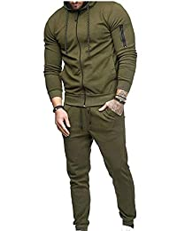omniscient Men Sport Sweatsuit Zip Hoodies Suit Jogging Full Tracksuits