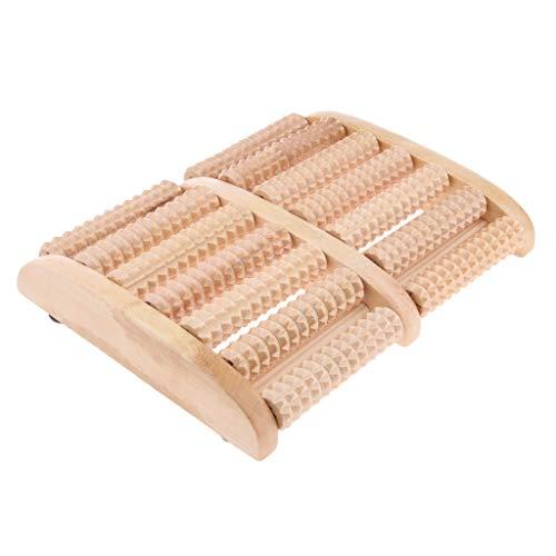 dailymall ウッドローラーマッサージャー 7列 フットマッサージ器 足つぼマッサージ 足裏 足底筋膜炎 ツボ押し
