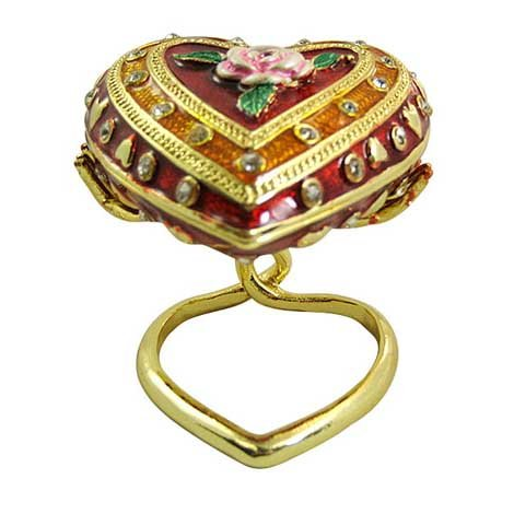 [NEW] Jewelry Trinket Box Figurine Case Vintage Collectible for Keepsake Art Decor Holder Organizer- Magnetic Storage, Jeweled w/ Crystals (Engraved & Detailed Cases) (Handheld Heart)