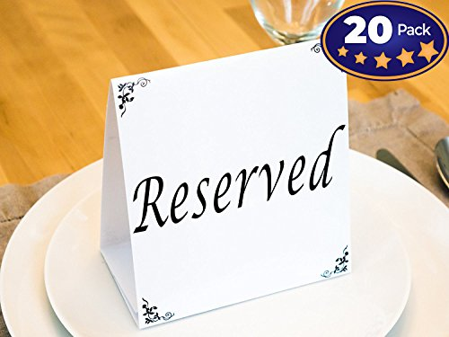 Big Reserved Table Tent Cards, 20 Pack. Great for Reserving Seats & Places at Events Like Wedding Receptions, Banquets & Parties. Highly Visible, Double-Sided Design Sets Up Quickly & Stays Vertical. -