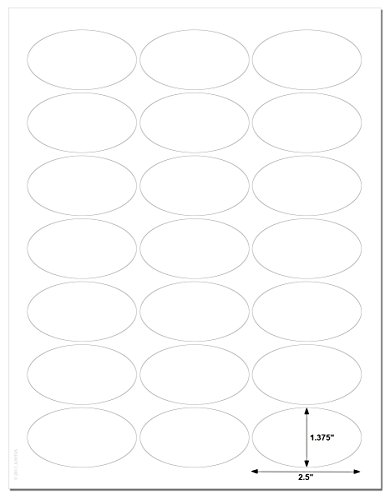 "Waterproof White Matte 2.5"" x 1.375"" inch Oval Labels for Laser Printers with Template and Printing Instructions, 5 Sheets, 105 Labels (JV25)"