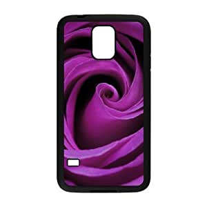 Samsung Galaxy S5 Case Purple Rose for Women Protective, Samsung Galaxy S5 Case 2015 Bloomingbluerose, [Black]