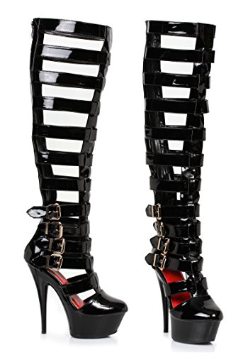 Ellie Cruz Strappy Knee High Boots Black vINoJ