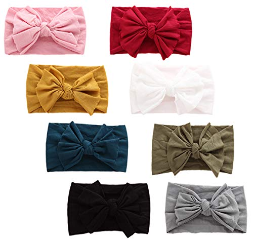 Xinshi Baby Girls Elastic Soft Hair Band Infant Bow Headbands Turban (XS-LR(8PCS)) ()