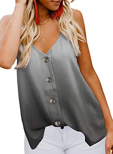 Tie Dye Camisole - FARYSAYS Women's Ladies Sexy Sleeveless V Neck Spaghetti Strap Loose Tie Dye Tank Tops Camisole Shirt Grey X-Large