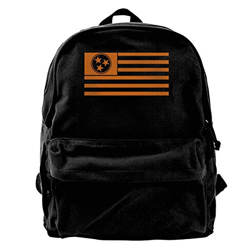 - HHFASN Tennessee Tri-Star and Stripes Flag Canvas Backpack for Men Women Lightweight Travel Backpack Cute Shoulder Bags Laptop Backpack