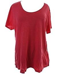 Sport Womens Plus Slub Short Sleeves T-Shirt Pink 1X