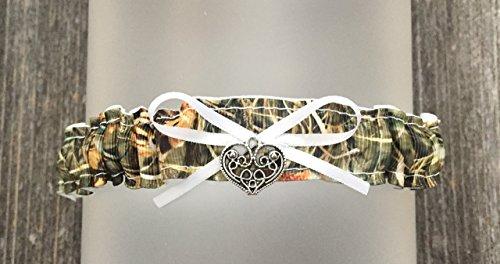 White Satin Wedding Garter - Sexy Camouflage White Satin Camo Wedding Bridal Toss Demi Garter - Swirl Heart Charm