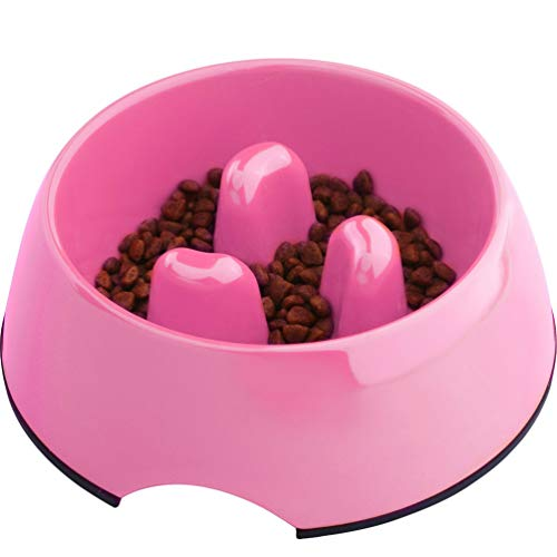Super Design Anti-Gulping Dog Bowl Slow Feeder, Interactive Bloat Stop Pet Bowl for Fast Eaters 0.5 Cup Pink