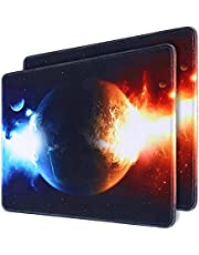 Mouse Pad 2-Pack, Gaming Mousepad 11.8x9.8in with Stitched Edge, QOMOLAMA Premium-Textured Water Resist Mouse Mat , Non-Slip Rubber Base Mouse Pads for Laptop,Computers, Gaming, Home, Office, Ice and Fire