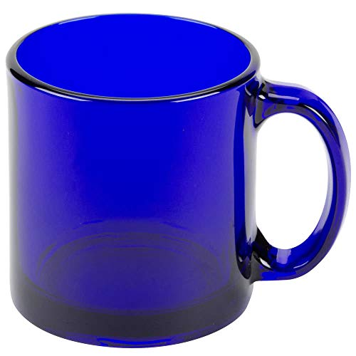 - SET of 4, Libbey 5213B Warm Beverage / Coffee Mug Cobalt Blue 13 oz w/ Signature Party Picks