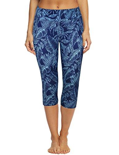Septangle Women's Swim Pants Capris UPF 50+ Water Outdoor Sport Leggings (US 12, Blue Leaf) ()