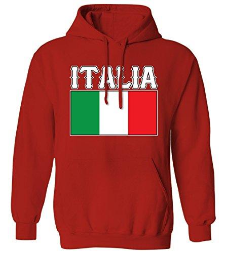 Bold Italia Flag Lettering Italy Italian National Pride Mens Hoodie Sweatshirt (Red, Large)