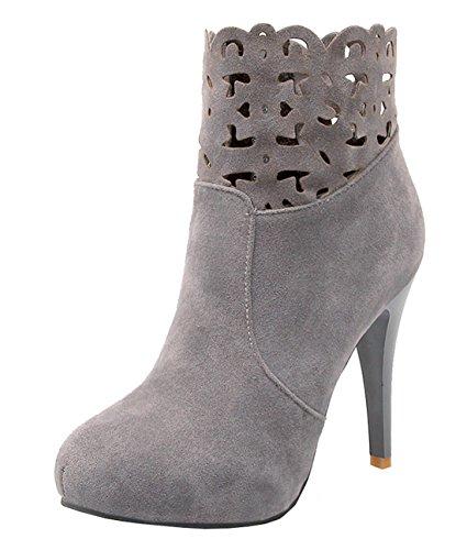 YE Damen Cut Out High Heels Stiefeletten Wildleder mit 6cm Absatz Fashion Designer Short Ankle Boots Herbst Schuhe Gray