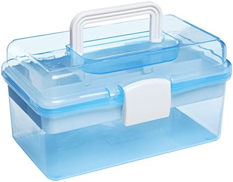 10″ Clear Light Blue Plastic Multipurpose Portable Handled Organizer Storage Box/Case w/Removable Tray
