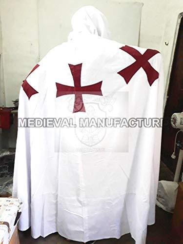 Historicalhub Medieval Templar Knight Cloak White Cape Halloween Costume -