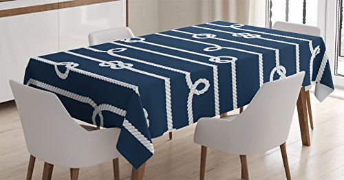 - Ambesonne Navy Blue Decor Tablecloth, Horizontal Marine Knots Ropes Figures Undone Bowline on The Bight Sailor Theme Image, Dining Room Kitchen Rectangular Table Cover, 60 X 90 Inches, White Navy