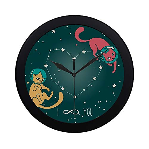 Modern Simple Cosmic Poster Love Doodle Catastronauts Floating Pattern Wall Clock Indoor Non-ticking Silent Quartz Quiet Sweep Movement Wall Clcok For Office,bathroom,livingroom Decorative 9.65 ()
