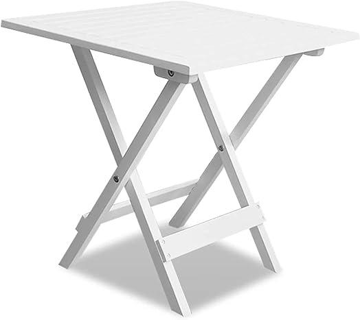 vidaXL Acacia Wood Outdoor Coffee Table White Folding Garden Patio Furniture