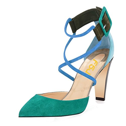 FSJ Women Classic Chunky Heels Pumps Ankle Strap Pointed Toe Stilettos Sandals Shoes Size 9 Teal-4'' Chunky - Sexy 4' Heel