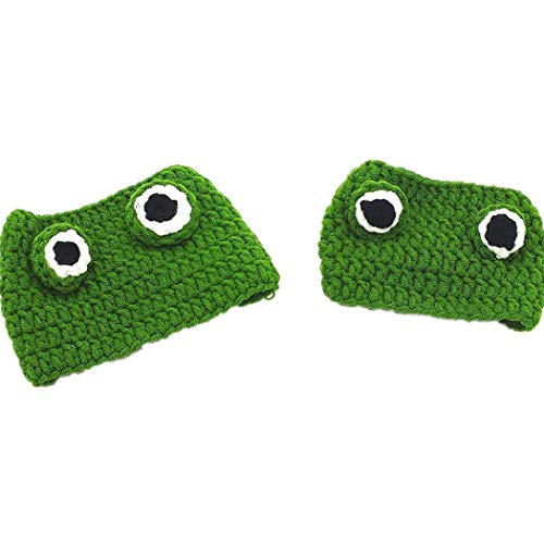 OTENGD Fleece Dog Cat Hat Pet Costume Headgear,Animal Head Wear Cat Dog Handmade DIY Wool Hat Creative Cartoon  Frog Design,Cute Hat Accessories for All Small Pets,Green(22-24 cm) ()