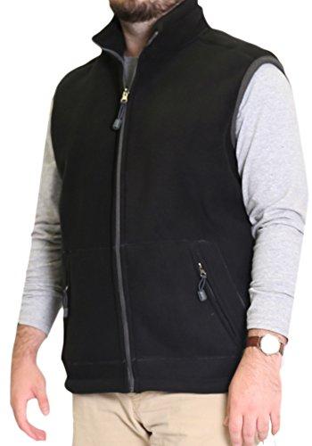 Woodland Supply Co. Men's Fleece Outerwear Vest (Large, Black/Charcoal)