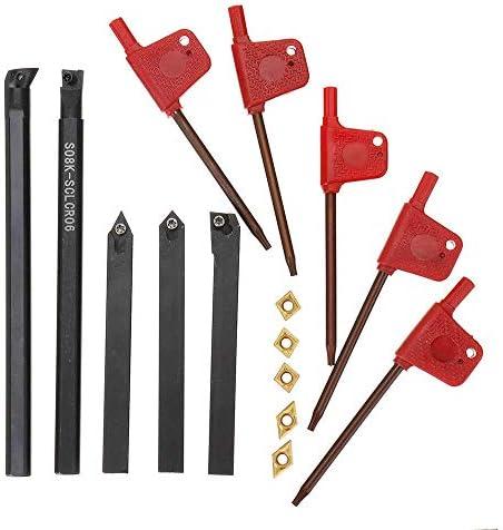 Qualitäts-CNC-Drehmaschine Werkzeug-Zubehör Shank Indizierbare Lathe Drehwerkzeughalter mit CCMT060204 DCMT070204 Karbid-Einsätze for CNC-Maschine 8mm 5pcs