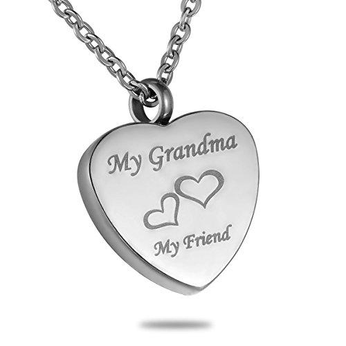 HooAMI My Grandma My Friend Heart Cremation Urn Pendant Necklace Memorial Ash Keepsake