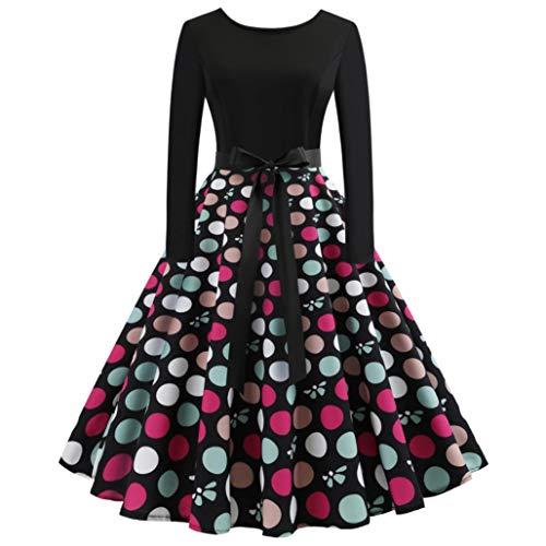 Anxinke Women Retro Halloween Pumpkin Printing Long Sleeve Swing Dress (M, Black 4) -