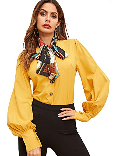 SheIn Women's Lantern Long Sleeve Bow Tie Neck Button Up Work Blouses Shirt Top Large Yellow