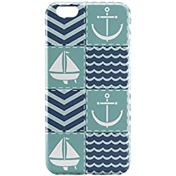 ANDMM Compatible with iPhone 6 Plus Case/iPhone 6s Plus Case Green Blue Nautical Quilt Slim Fit Shell Hard Plastic Full Protective Anti-Scratch Resistant Cover Stylish Design for iPhone 6/6s Plus