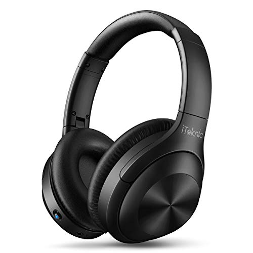 Active Noise Cancelling Headphones, iTeknic Bluetooth Headphones with Microphone Deep Bass, Comfortable Over Ear Wireless Headphones 30H Playtime for Travel Work TV PC Cellphone