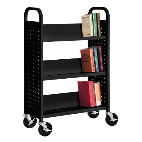(Sandusky Lee SL330-06 Single Sided Sloped Shelf Book Truck, 14