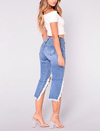 Haute Boutonnage Skinny Jeans Jeans Dchirs Patte des Trous Jeans Bleu en Skinny Denim de Zipper Femme Oudan d't avec Pantalon Taille Pantalon pour Bouton Hipster fvpxxw