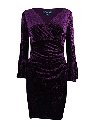 Lauren by Ralph Lauren Womens Plus Velvet Sheath Dress Purple 14W