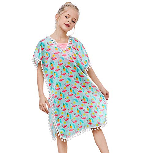 QtGirl Cover Up for Girls Swimsuit Cover Ups, Bathing Suit Beach Dress Cover-Up V-Neck with Tassel for Kids Girls Summer Light Green ()