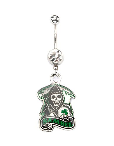 INOX Sons of Anarchy Sambel Gem Dangle Stainless Steel Belly Button Ring (Rings Sons Of Anarchy)