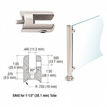 C.R. LAURENCE SA60PS CRL Polished Stainless Fixed Glass Fitting for 1-1/2