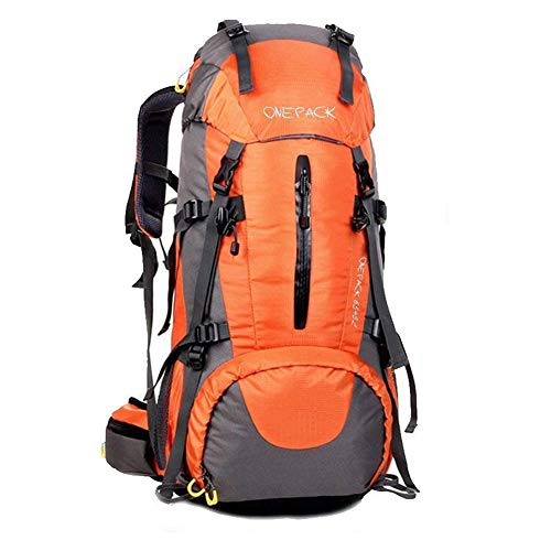 ONEPACK 70L Internal Frame Hiking Backpack with Rainfly (65+5L) Backpacking Bag with Waterproof Rain Cover for Outdoor Travel Winter Mountaineering Trekking (70l Orange)